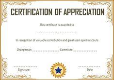 scout certificate of appreciation certificate of appreciation certificate templates