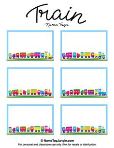 Free printable train name tags. The template can also be used for creating items like labels and place cards. Download the PDF at http://nametagjungle.com/name-tag/train/