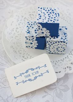 blue doily favor boxes