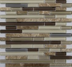B006 - Grigio Subway Marble Mixed with Glass Tile multi Colored; Beige Light Brown, Dark Brown