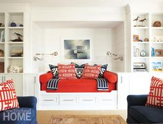 Nantucket Reading Nook - love love the mix of crimson and navy!  (PS  the Nautico throw can be found at caronsbeachhouse.com)