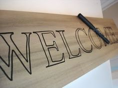 How to paint your own lettering.  Who needs vinyl? Painted Wooden Signs, Wooden Welcome Signs, Porch Welcome Sign, Painted Boards, Wooden Crafts, Pallet Crafts, Wooden Diy, Diy Crafts, Pallet Ideas