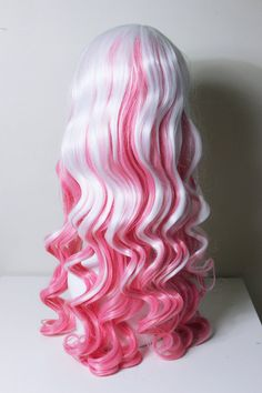 Multicolor White and Pink curly cosplay wig by CookieKwigs on Etsy, $30.00