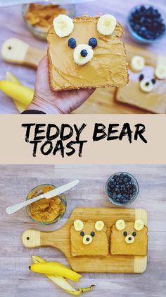 Teddy Bear Toast Source by TheTrophyWifeStyle Cute Snacks, Lunch Snacks, Cute Food, Good Food, Yummy Food, Healthy Snacks, Kid Snacks, Lunch Box, Baby Food Recipes