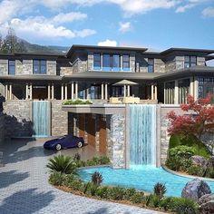 Million Dollar modern-mansion-homes Dream Home Design, Modern House Design, My Dream Home, Luxury Modern House, Home Modern, Kitchen Modern, Dream Life, Modern Rustic, Dream Mansion