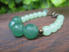 Stone Bead Bracelet  Earthy Gemstone  Mint Green by inbloomdesigns, $27.00  very pretty.  Can wear this in any season.