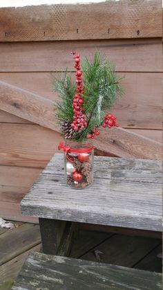 Holiday Mason Jar Arrangement! by ToastyBarkerBoutique on Etsy