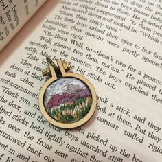 Landscape Purple Mountains Mini Embroidery Hoop Necklace - Hand Embroidered Jewelry