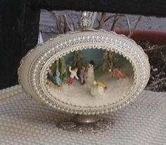 handmade snow scene blown out decorated egg