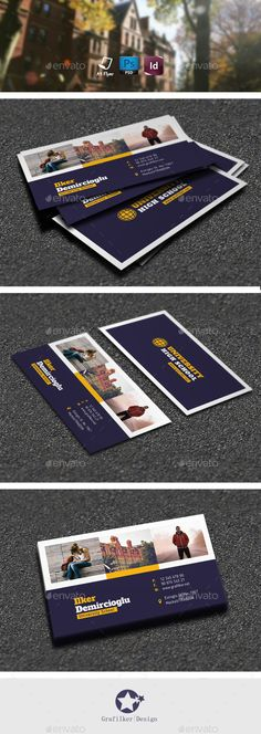 School Business Card Templates - Corporate Business Card Template PSD. Download here: http://graphicriver.net/item/school-business-card-templates/12326325?s_rank=1751&ref=yinkira