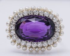 Tiffany & Co. Antique Diamond, Amethyst & Pearl Brooch., Lot Number: 0067, Starting Bid: $5,000, Auctioneer: SAJ Auction, Auction: SAJ Auctions, Date: January 23rd, 2017 GMT