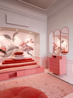 This bedroom design is the epitome of the princess on the pea meets Wes Anderson. Sleep on a bed of storage in the colour Rhubarb. The dresser, also in Rhubarb, has legs and handles in brass. The oval mirrors are displayed in the colour Rosehip. Red Bedroom Design, Bedroom Red, Bedroom Colors, Bedroom Ideas, Red Room Decor, Montana Furniture, Cocina Shabby Chic, Red Rooms, Pink Room