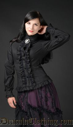 Black Victorian Blouse - Blouse and Tops - Ladies Clothing