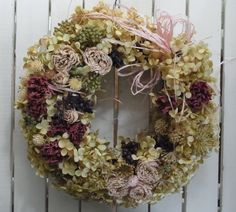 Dried Flower ハンドメイドバラとアジサイ(アナベル)のリース インテリア 雑貨 Handmade ¥1750yen 〆05月21日
