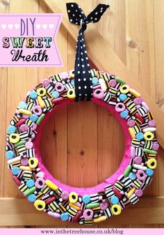 Sweet Candy Wreath DIY Tutorial for Wedding or Party Decoration by In the Treehouse
