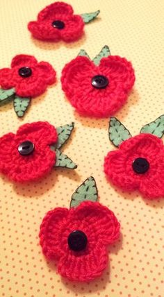POPPY FLOWER ... How to make Poppy Flower Brooch... Free Crochet Tutorial