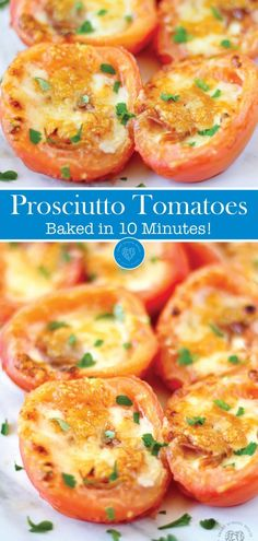 Baked Tomatoes with Prosciutto is a simple, low carb recipe that's ready in ten minutes! Grab the details on this simple recipe that uses the perfect blend of spaces and is baked to perfection now! This is a great way to use up your delicious summer vegetables! #recipes #tomatoes #summer #prosciutto #recipes #appetizers