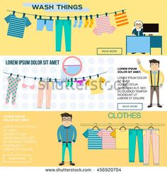 banner vector illustration wash things. Clothes hanging on a rope. Clothes on a hanger. . Hanger with clothes. set of clothes on a hanger. Flat illustration wash clothes.
