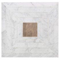 "Tonya Comer Boulevard White Carrara 16"" x 16"" Marble Tile with Noon Honey Natural Insert"