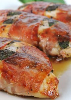 LEMONY CHICKEN SALTIMBOCCA (place a slice of provolone to melt on each piece of chicken while it is resting, and making the sauce)