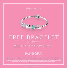 Take advantage of Pandora's Free Bracelet event. Spend $150 on Pandora Jewellery and get a FREE bracelet! (value up to $75) Upgrades are permitted. Visit store for additional details. #DoPandora #orangeville #pearhome