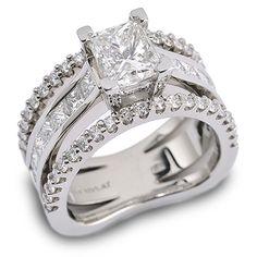 Interlude 150-R50:  1.51ct Princess Cut Diamond accented by Diamonds set in Platinum.
