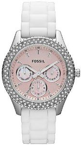 Fossil Women's ES2989 White Silicone Quartz Watch with Pink Dial: Watches: Amazon.com