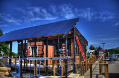 The Middlebury College team chose to design their house for its final placement in the team's hometown of Middlebury, Vermont. The result: The team created a Solar Path -- a walkway under the free-standing solar panels to the front of the house. | Photo courtesy of Middlebury College.
