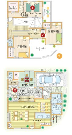 間取り Japanese House, House Layouts, House Floor Plans, Exterior Design, Living Spaces, House Design, Flooring, How To Plan, Building