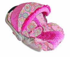 Boutique Darlene/Hot Pink Minky Dot Infant Car by smallsproutsbaby, $139.00