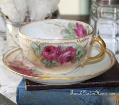 Antique French Haviland Hand Painted Limoges Roses Tea Cup