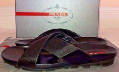 c86c36408c0d9e Mens Prada Nastro Nylon Black Ribbon Sandals Size 7  PRADA  FlipFlops Black  Ribbon Sandals