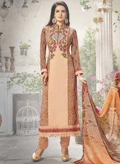 Peach Embroidery Work Georgette Silk Designer Fancy Churidar Printed Suit http://www.angelnx.com/Salwar-Kameez/Churidar-Suits