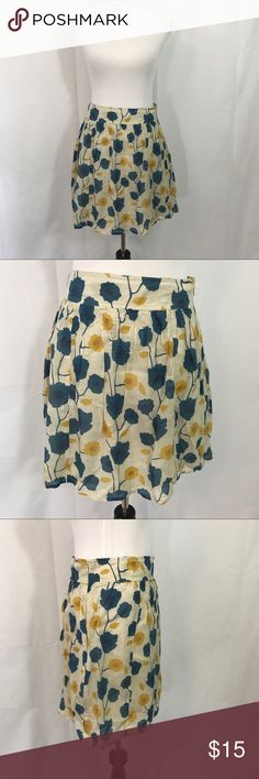 Fossil Yellow and Teal Floral Cotton Skirt  S/M EUC Floral skirt.  Side invisible  skirt with cotton lining. Waist 30 Length  19 size states 2 but fit S/M Fossil Skirts Mini