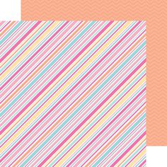 Sugar Shoppe Collection Launch Party + Giveaway with Doodlebug Design - pretty double-sided paper - love the diagonal stripes and the awesome orange chevron