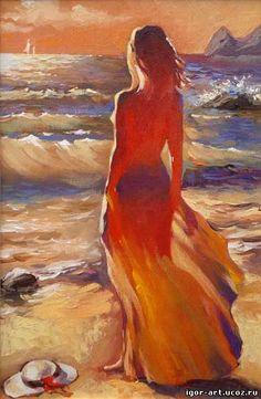 девушка на берегу моря - Buscar con Google
