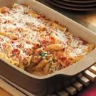 Baked Mostaccioli - I left out the meat.  Instead of spaghetti sauce, I used tomato sauce and a can of diced tomatoes and added italian seasoning.  I used fat free ricotta and low fat mozz.  I also added about a 1/2 c of spinach to the cheese mix.  This is a good one!