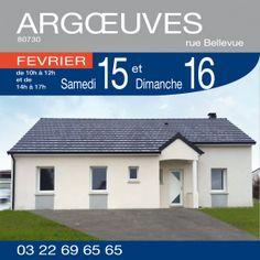 Visiter cette maison plain-pied de 98m² comprenant 3 chambres, cellier et cuisine ouverte sur séjour à ARGOEUVES (80730) - Rue Bellevue.