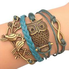 Vintage Owl Arm Party Bracelet