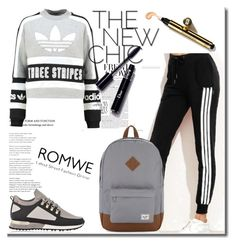 """""""ROMWE"""" by lejlasaric ❤ liked on Polyvore featuring adidas Originals, Herschel Supply Co. and MALLET"""