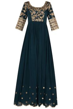 Pleats by Kaksha & Dimple presents Peacocok blue scalloped anarkali with heavy zardozi embroidery in crepe georgette available only at Pernia's Pop Up Shop. Zardozi Embroidery, Embroidery Suits, Embroidery Fashion, Embroidery Ideas, Hand Embroidery, Wedding Dresses Men Indian, Indian Dresses, Indian Outfits, Indian Clothes