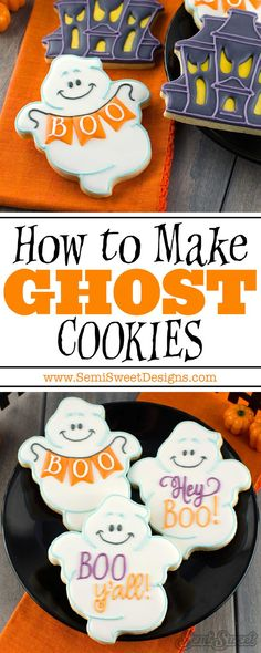 How to make these chubby ghost cookies by SemiSweetDesigns.com | Detailed tutorial and template included