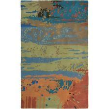 Rizzy Home Volare Collection Hand-tufted Abstract Wool Blue/ Green Rug (8' x 10'
