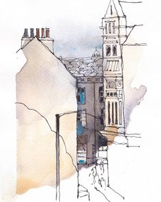 Repost from - Lancaster sketch from the Storey Institute. Landscape Drawings, Architecture Drawings, Watercolor Drawing, Watercolor Paintings, Town Drawing, Building Sketch, Sketch A Day, Sketch Inspiration, Urban Sketchers