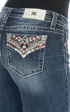 Miss Me Women's Tribal Embroidery & Studs Pocket Boot Cut Jeans | Cavender's