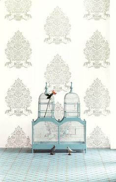 Pip Studio the Official website - Pip for President wallpaper wit White Wallpaper, New Wallpaper, Fabric Wallpaper, Pattern Wallpaper, Pip Studio, Bird Cages, Vintage Glamour, Designer Wallpaper, Vivid Colors