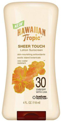 Hawaiian Tropic Sheer Touch Lotion SPF 30 Sunscreen. Non greasy and oil free. UAV/UVB protection. water resistant(80 minutes) This is very nice sunscreen!!! I love it so much. smell good too. you must have in FL!!!!