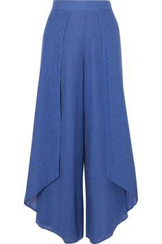 Royal-blue linen-blend voile Concealed zip fastening along back linen, rayon; Fashion Pants, Hijab Fashion, Fashion Dresses, Fashion Tips, 80s Fashion, Fashion History, Womens Fashion, Mode Hijab, Pants Pattern