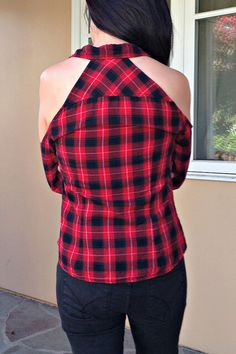 c58d5f12ccdc3 Back view of flannel shirt with cold shoulder cut outs. Shirt Refashion