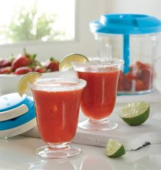 "Get your drink on! Date your Consultant and enjoy these Sassy Strawberry Margaritas made in about two minutes. They're so good, you're going to start calling your #powerchef the ""magic margarita machine."""